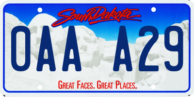 SD license plate 0AAA29