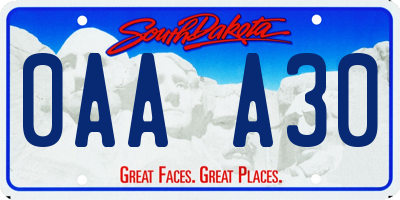 SD license plate 0AAA30
