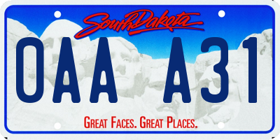 SD license plate 0AAA31