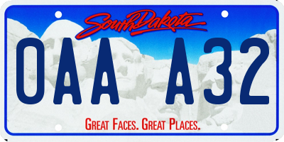 SD license plate 0AAA32