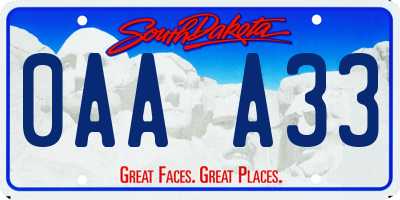 SD license plate 0AAA33