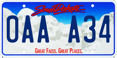 SD license plate 0AAA34