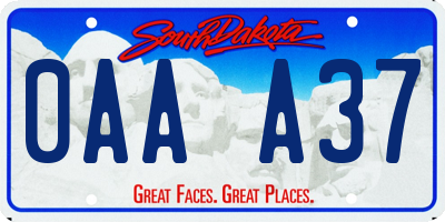 SD license plate 0AAA37