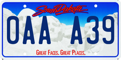 SD license plate 0AAA39