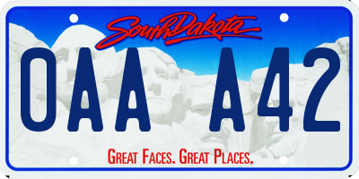 SD license plate 0AAA42
