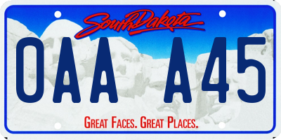 SD license plate 0AAA45