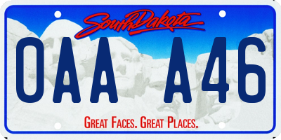 SD license plate 0AAA46