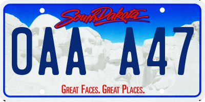 SD license plate 0AAA47