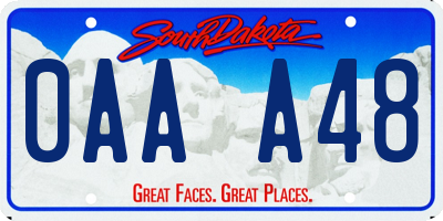SD license plate 0AAA48