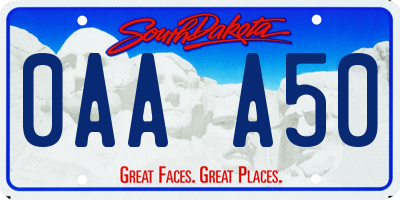 SD license plate 0AAA50