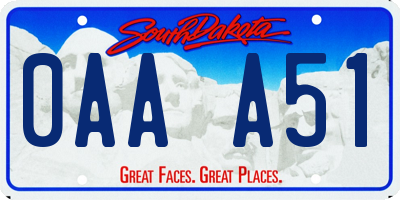SD license plate 0AAA51