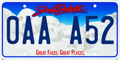 SD license plate 0AAA52