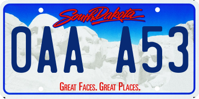 SD license plate 0AAA53