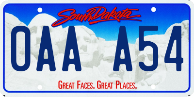 SD license plate 0AAA54
