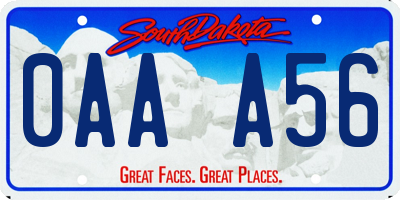 SD license plate 0AAA56