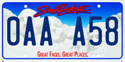 SD license plate 0AAA58