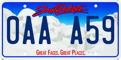 SD license plate 0AAA59