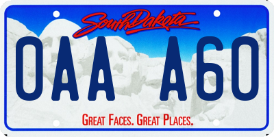 SD license plate 0AAA60