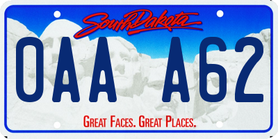 SD license plate 0AAA62