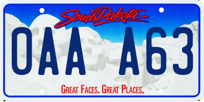 SD license plate 0AAA63