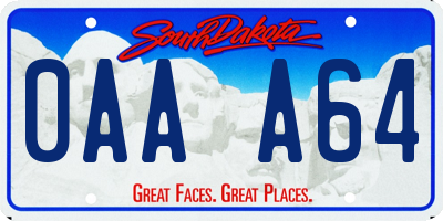 SD license plate 0AAA64