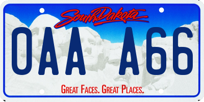 SD license plate 0AAA66