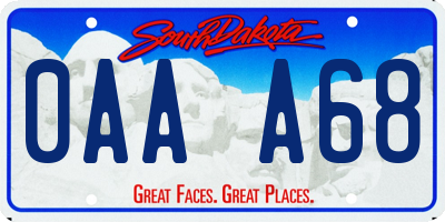 SD license plate 0AAA68