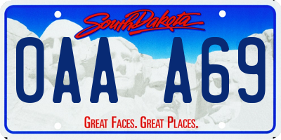 SD license plate 0AAA69