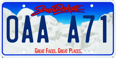 SD license plate 0AAA71