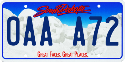 SD license plate 0AAA72