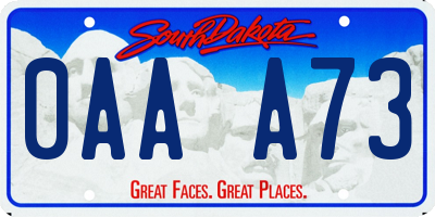 SD license plate 0AAA73