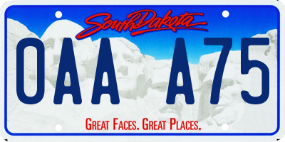 SD license plate 0AAA75