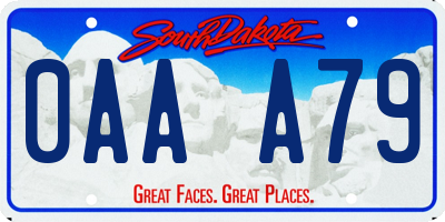 SD license plate 0AAA79