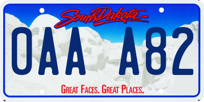 SD license plate 0AAA82