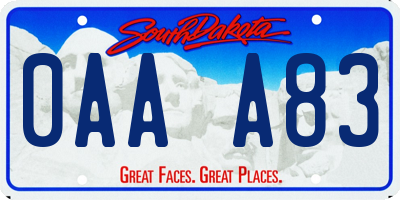SD license plate 0AAA83