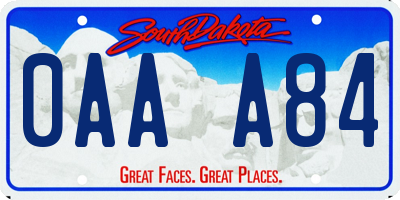 SD license plate 0AAA84