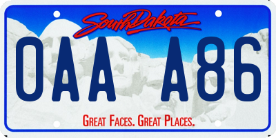 SD license plate 0AAA86