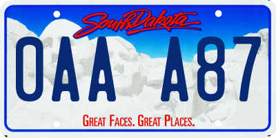 SD license plate 0AAA87