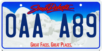 SD license plate 0AAA89