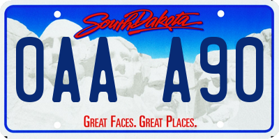 SD license plate 0AAA90