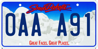 SD license plate 0AAA91