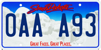 SD license plate 0AAA93