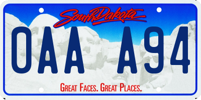 SD license plate 0AAA94