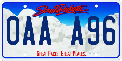 SD license plate 0AAA96