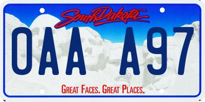 SD license plate 0AAA97