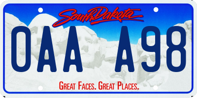 SD license plate 0AAA98