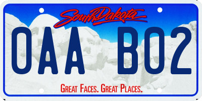 SD license plate 0AAB02