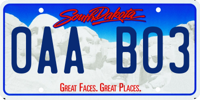 SD license plate 0AAB03