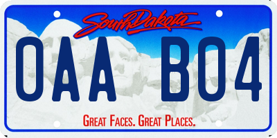 SD license plate 0AAB04