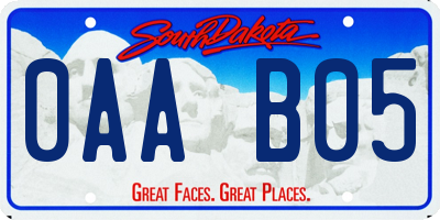 SD license plate 0AAB05